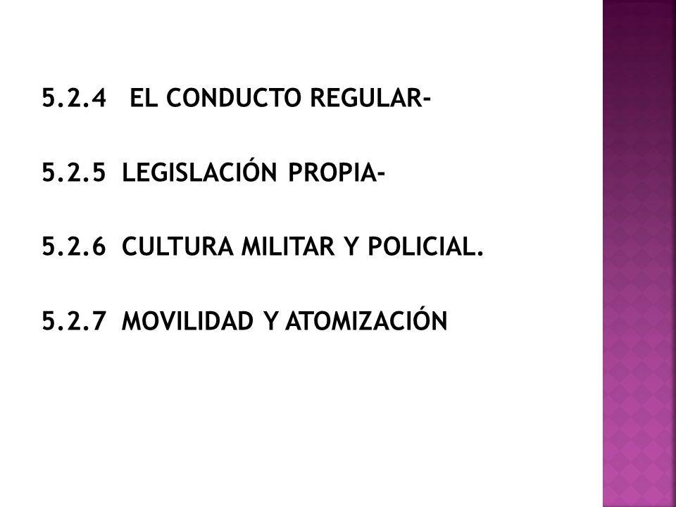 5.2.4 EL CONDUCTO REGULAR- 5.2.5 LEGISLACIÓN PROPIA- 5.2.6 CULTURA MILITAR Y POLICIAL. 5.2.7 MOVILIDAD Y ATOMIZACIÓN