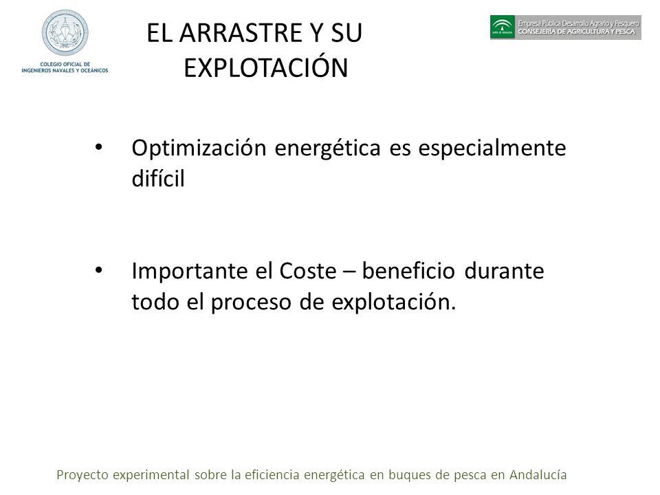 Proyecto experimental sobre la eficiencia energética en buques de pesca en Andalucía EL ARRASTRE Y SU EXPLOTACIÓN Optimización energética es especialm