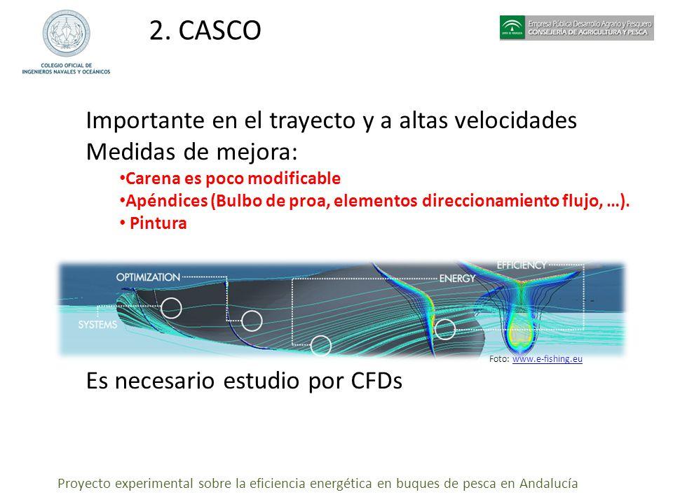Proyecto experimental sobre la eficiencia energética en buques de pesca en Andalucía 2. CASCO Importante en el trayecto y a altas velocidades Medidas