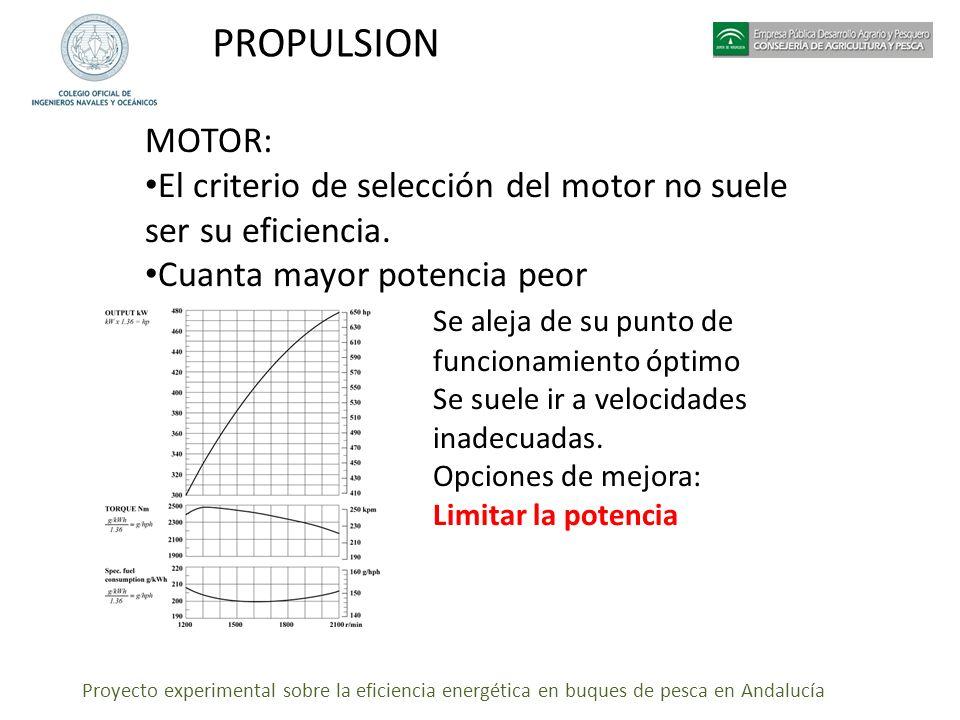 Proyecto experimental sobre la eficiencia energética en buques de pesca en Andalucía PROPULSION MOTOR: El criterio de selección del motor no suele ser