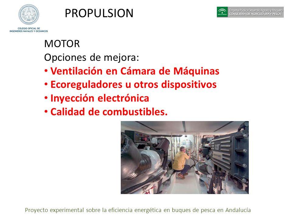 Proyecto experimental sobre la eficiencia energética en buques de pesca en Andalucía PROPULSION MOTOR Opciones de mejora: Ventilación en Cámara de Máq