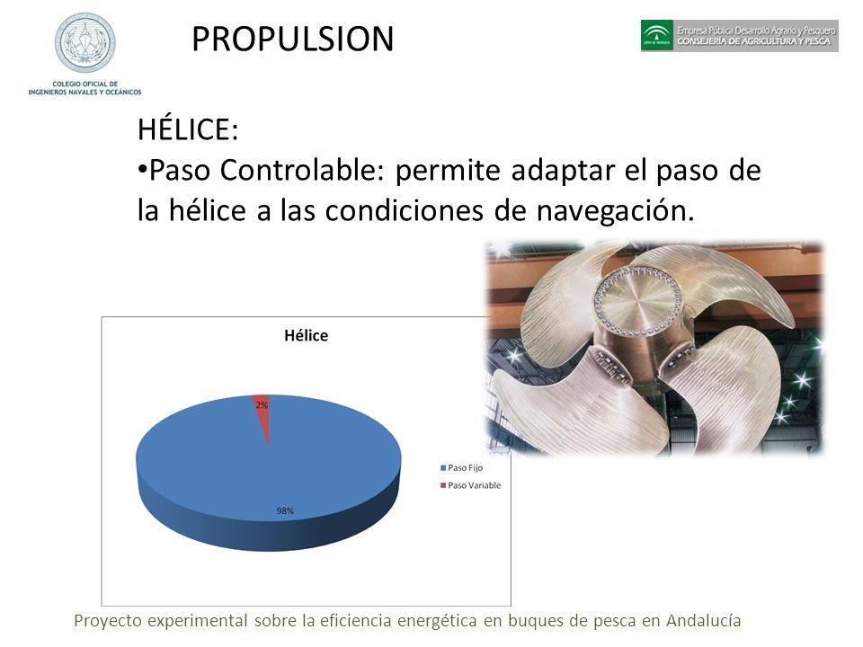 Proyecto experimental sobre la eficiencia energética en buques de pesca en Andalucía PROPULSION HÉLICE: Paso Controlable: permite adaptar el paso de l