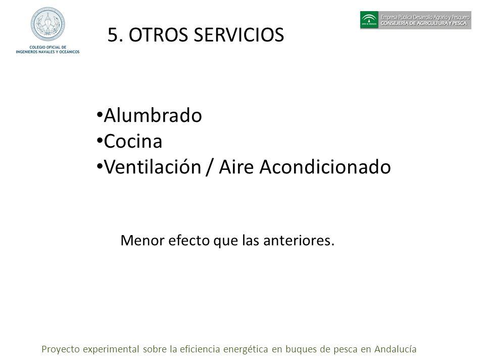 Proyecto experimental sobre la eficiencia energética en buques de pesca en Andalucía 5. OTROS SERVICIOS Alumbrado Cocina Ventilación / Aire Acondicion