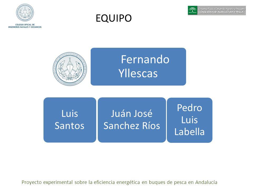 Proyecto experimental sobre la eficiencia energética en buques de pesca en Andalucía EQUIPO Fernando Yllescas Luis Santos Juán José Sanchez Ríos Pedro