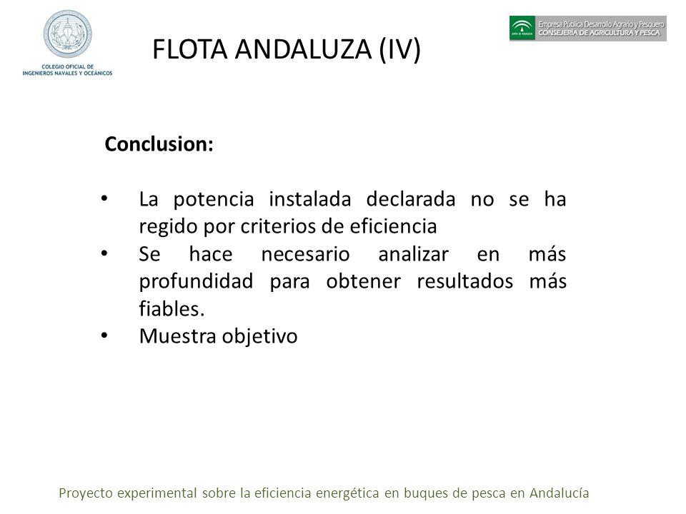 Proyecto experimental sobre la eficiencia energética en buques de pesca en Andalucía FLOTA ANDALUZA (IV) Conclusion: La potencia instalada declarada n