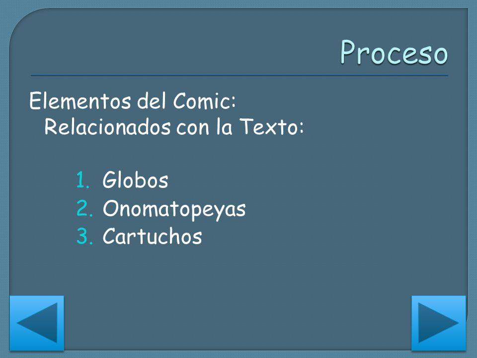 Elementos del Comic: Relacionados con la Texto: 1.Globos 2.Onomatopeyas 3.Cartuchos