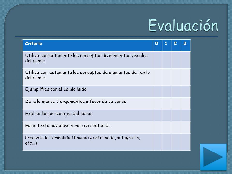 Criterio0123 Utiliza correctamente los conceptos de elementos visuales del comic Utiliza correctamente los conceptos de elementos de texto del comic E