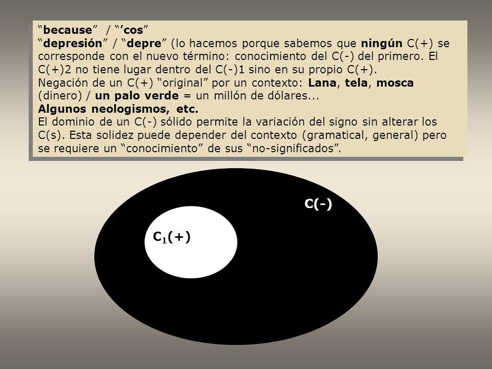 C 1 (+) C(-) because / cos depresión / depre (lo hacemos porque sabemos que ningún C(+) se corresponde con el nuevo término: conocimiento del C(-) del primero.