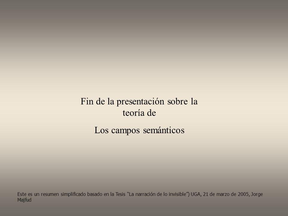 Fin de la presentación sobre la teoría de Los campos semánticos Este es un resumen simplificado basado en la Tesis La narración de lo invisible) UGA, 21 de marzo de 2005, Jorge Majfud