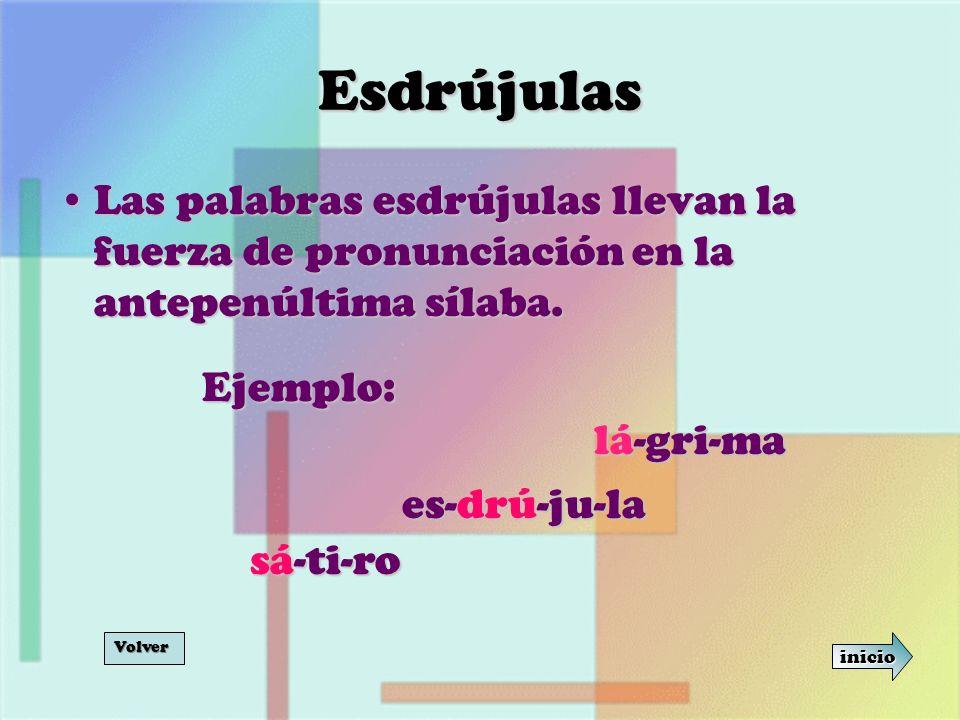 Esdrújulas Las palabras esdrújulas llevan la fuerza de pronunciación en la antepenúltima sílaba.Las palabras esdrújulas llevan la fuerza de pronunciac