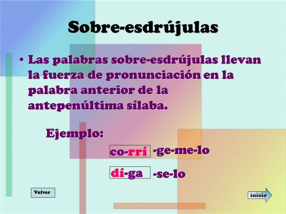 Sobre-esdrújulas Las palabras sobre-esdrújulas llevan la fuerza de pronunciación en la palabra anterior de la antepenúltima sílaba.Las palabras sobre-