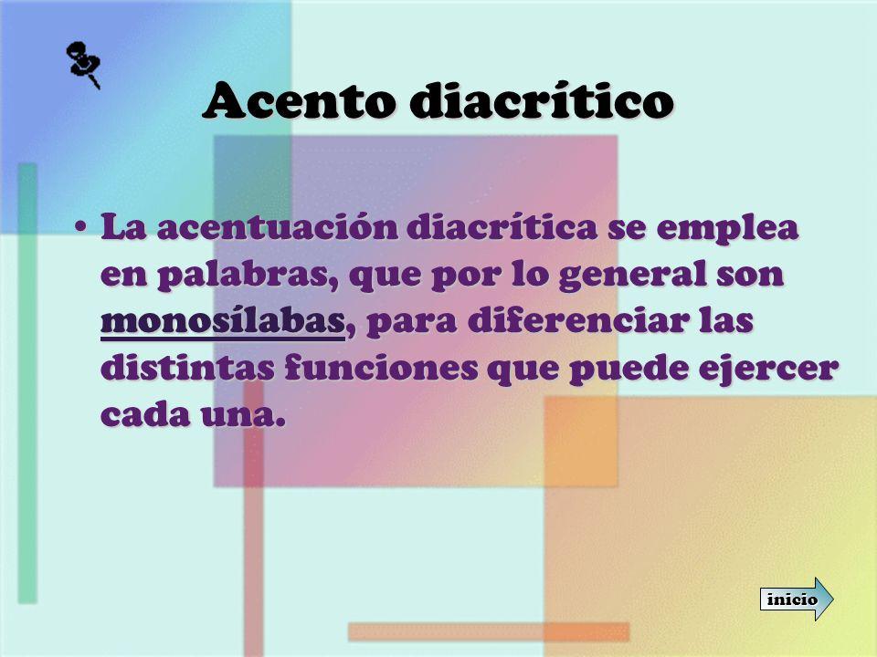 Acento diacrítico La acentuación diacrítica se emplea en palabras, que por lo general son monosílabas, para diferenciar las distintas funciones que pu