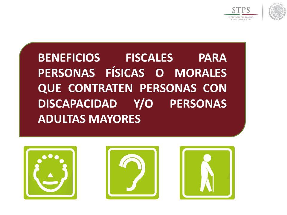 BENEFICIOS FISCALES PARA PERSONAS FÍSICAS O MORALES QUE CONTRATEN PERSONAS CON DISCAPACIDAD Y/O PERSONAS ADULTAS MAYORES
