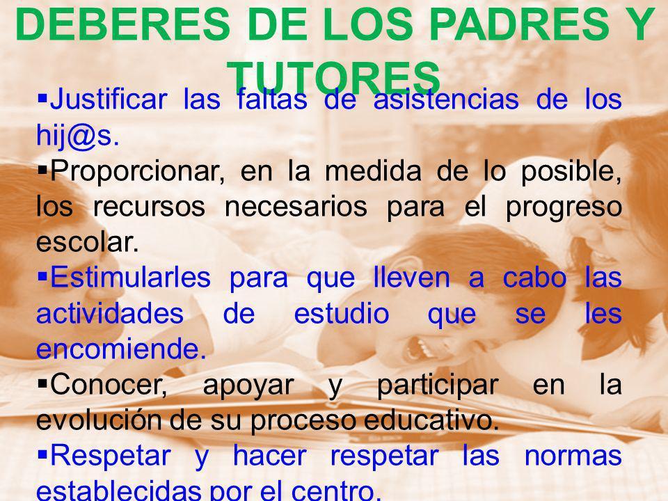 DEBERES DE LOS PADRES Y TUTORES Tratar directa y personalmente los problemas y quejas de sus hijos con el tutor o con el profesor correspondiente.