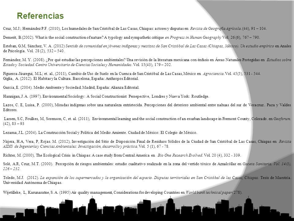 Referencias Cruz, M.J.; Hernández P.F.