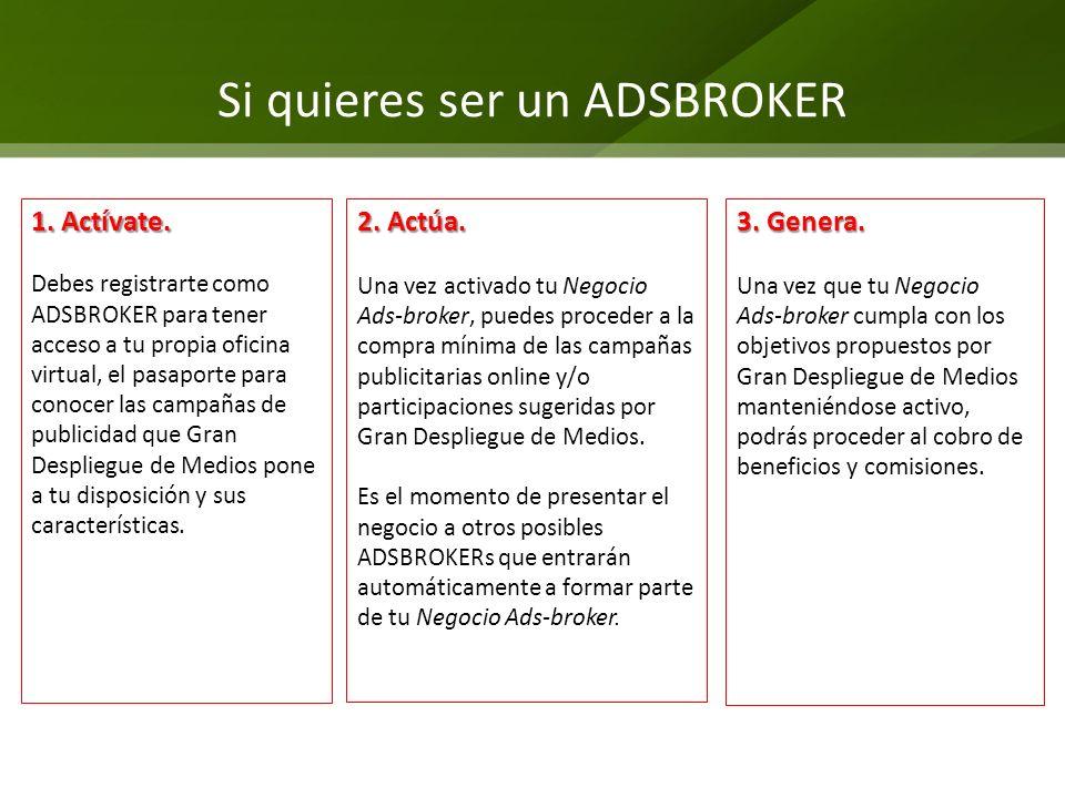 Si quieres ser un ADSBROKER 1. Actívate. Debes registrarte como ADSBROKER para tener acceso a tu propia oficina virtual, el pasaporte para conocer las