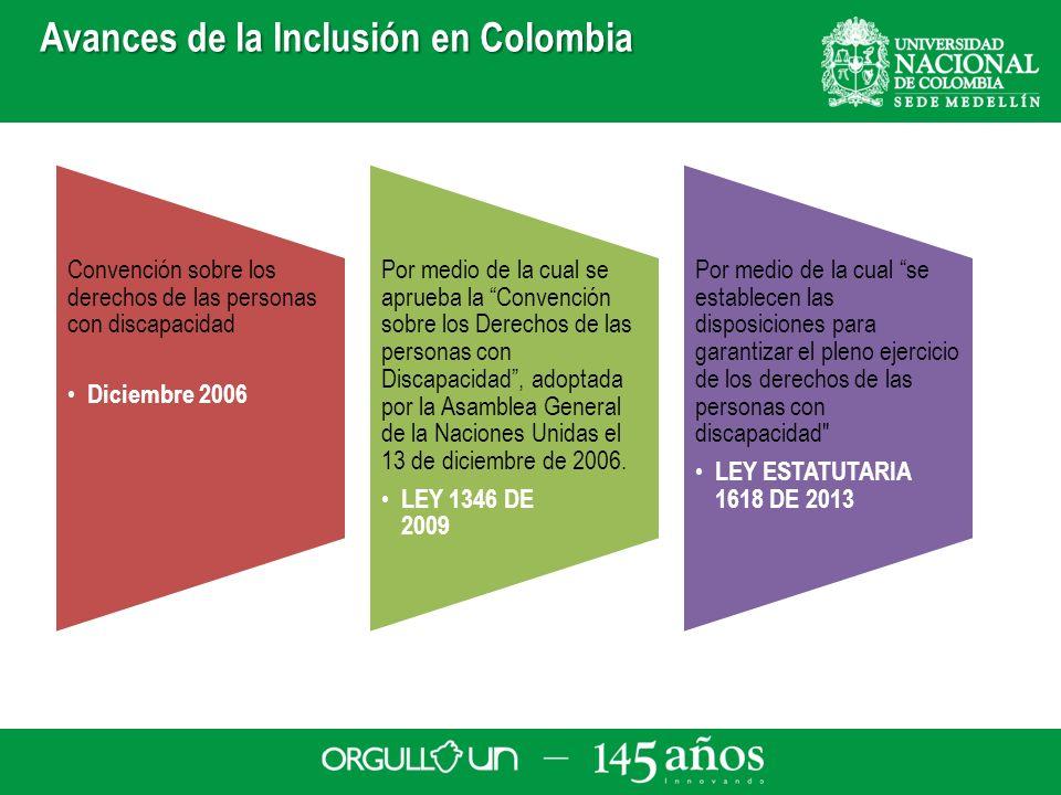 Avances de la Inclusión en Colombia Convención sobre los derechos de las personas con discapacidad Diciembre 2006 Por medio de la cual se aprueba la C