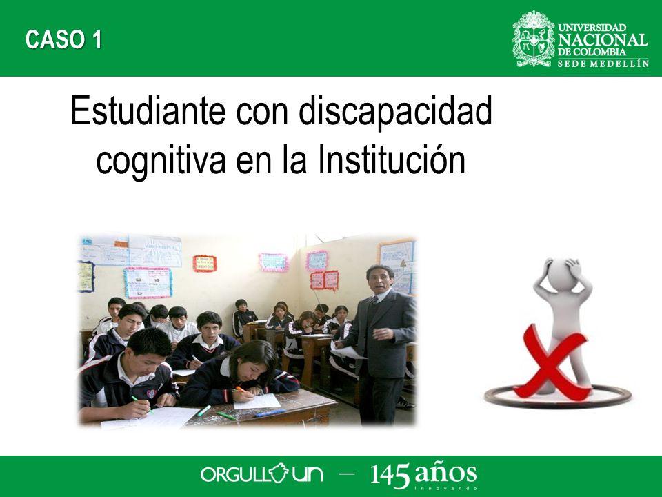 Estudiante con discapacidad cognitiva en la Institución CASO 1