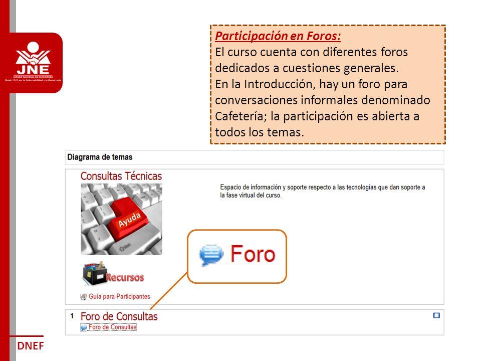 Participación en Foros: El curso cuenta con diferentes foros dedicados a cuestiones generales.