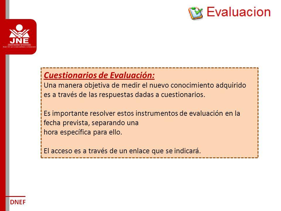Cuestionarios de Evaluación: Una manera objetiva de medir el nuevo conocimiento adquirido es a través de las respuestas dadas a cuestionarios.