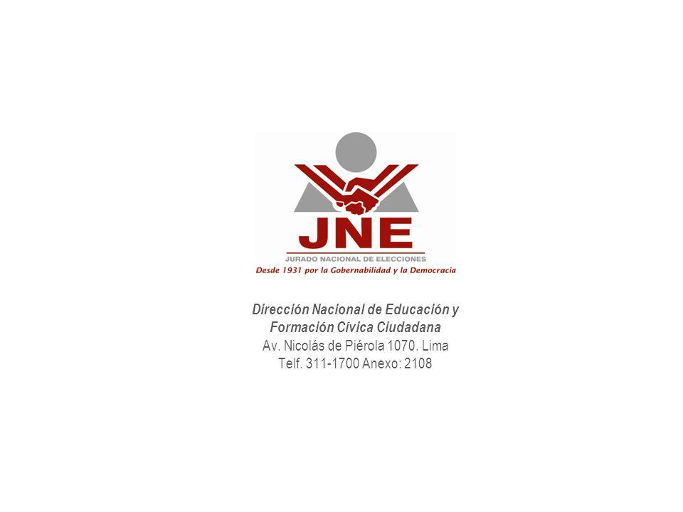 Dirección Nacional de Educación y Formación Cívica Ciudadana Av.