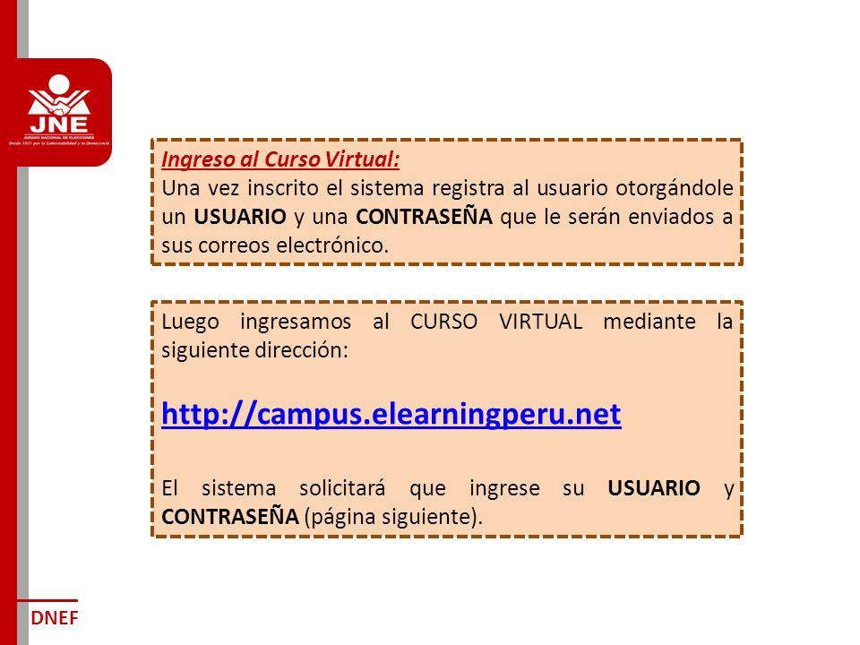 DNEF Ingreso al Curso Virtual: Una vez inscrito el sistema registra al usuario otorgándole un USUARIO y una CONTRASEÑA que le serán enviados a sus correos electrónico.