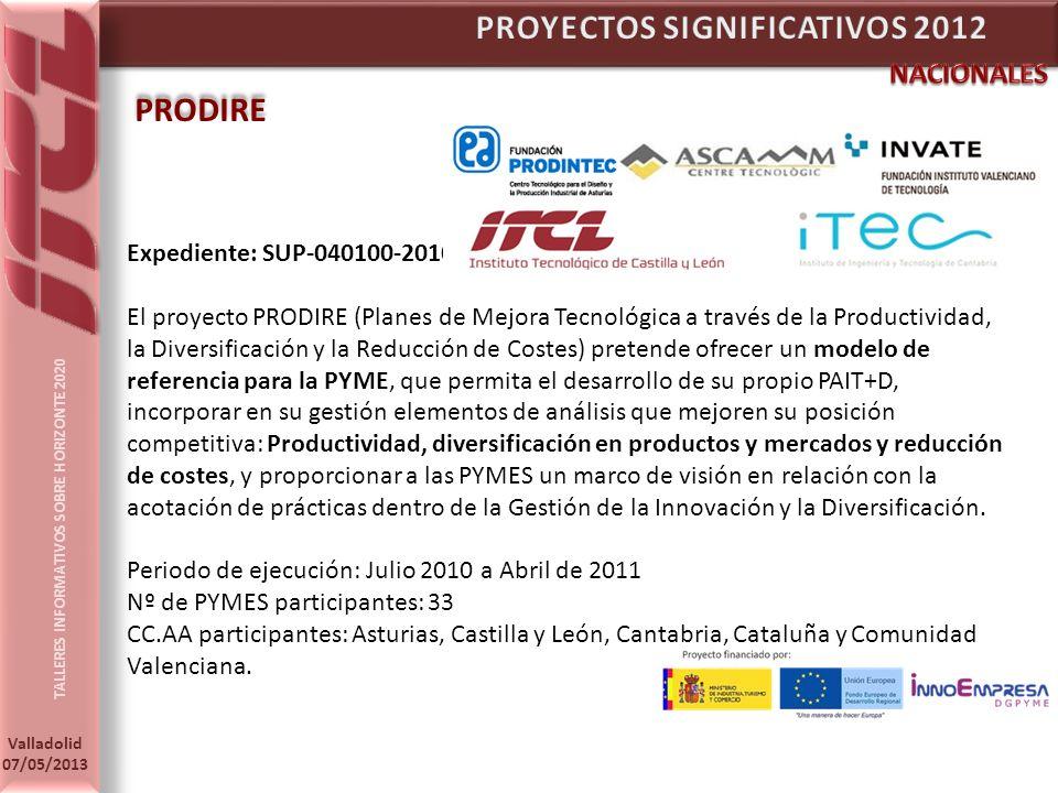 TALLERES INFORMATIVOS SOBRE HORIZONTE 2020 Valladolid 07/05/2013 PRODIRE Expediente: SUP-040100-2010-1 El proyecto PRODIRE (Planes de Mejora Tecnológica a través de la Productividad, la Diversificación y la Reducción de Costes) pretende ofrecer un modelo de referencia para la PYME, que permita el desarrollo de su propio PAIT+D, incorporar en su gestión elementos de análisis que mejoren su posición competitiva: Productividad, diversificación en productos y mercados y reducción de costes, y proporcionar a las PYMES un marco de visión en relación con la acotación de prácticas dentro de la Gestión de la Innovación y la Diversificación.