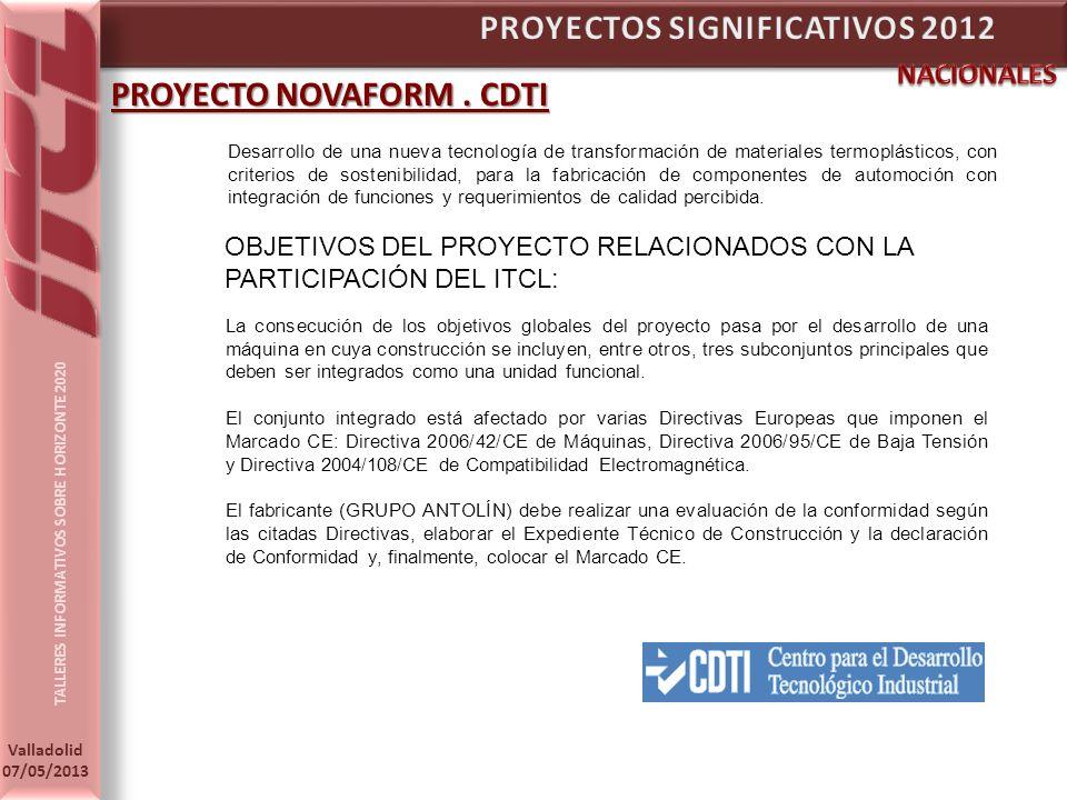 TALLERES INFORMATIVOS SOBRE HORIZONTE 2020 Valladolid 07/05/2013 PROYECTO NOVAFORM.