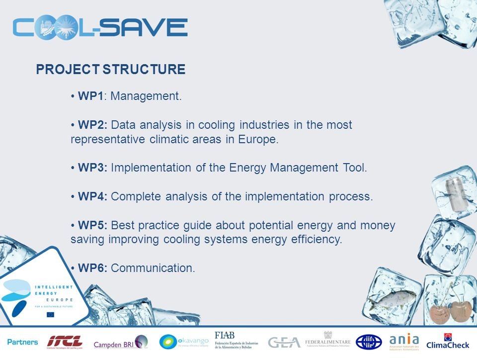 TALLERES INFORMATIVOS SOBRE HORIZONTE 2020 Valladolid 07/05/2013 PROJECT STRUCTURE WP1: Management. WP2: Data analysis in cooling industries in the mo
