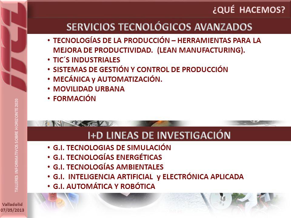 TALLERES INFORMATIVOS SOBRE HORIZONTE 2020 Valladolid 07/05/2013 ¿QUÉ HACEMOS.