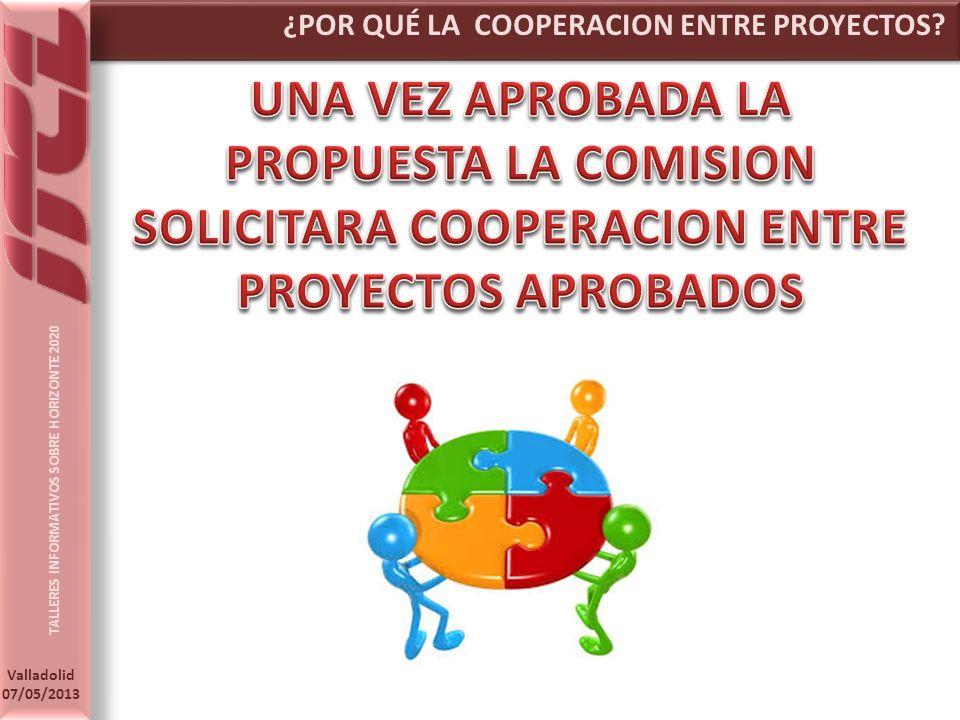 TALLERES INFORMATIVOS SOBRE HORIZONTE 2020 Valladolid 07/05/2013 ¿POR QUÉ LA COOPERACION ENTRE PROYECTOS?