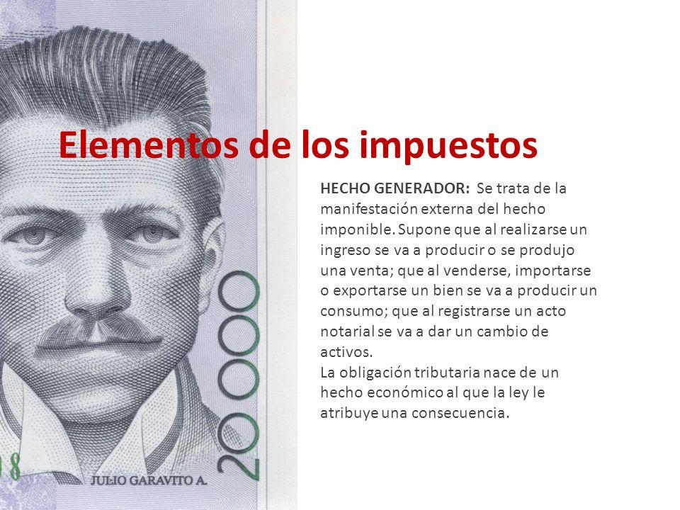 Elementos de los impuestos HECHO GENERADOR: Se trata de la manifestación externa del hecho imponible. Supone que al realizarse un ingreso se va a prod