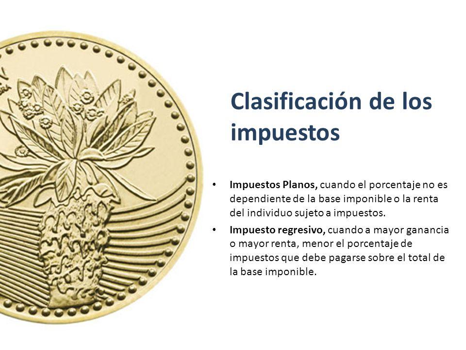 Clasificación de los impuestos Impuestos Planos, cuando el porcentaje no es dependiente de la base imponible o la renta del individuo sujeto a impuest
