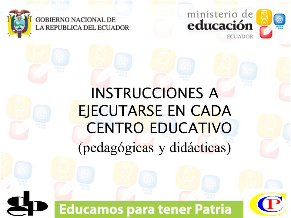 INSTRUCCIONES A EJECUTARSE EN CADA CENTRO EDUCATIVO (pedagógicas y didácticas)