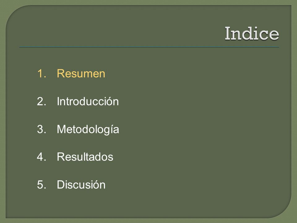 1. Resumen 2. Introducción 3. Metodología 4. Resultados 5. Discusión