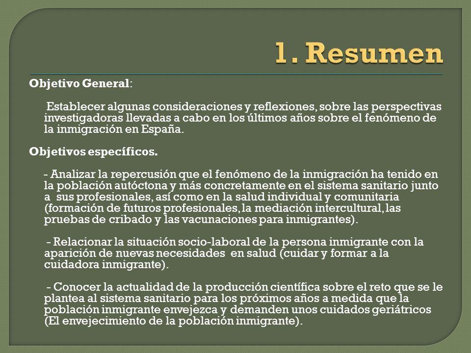 Objetivo General: Establecer algunas consideraciones y reflexiones, sobre las perspectivas investigadoras llevadas a cabo en los últimos años sobre el fenómeno de la inmigración en España.