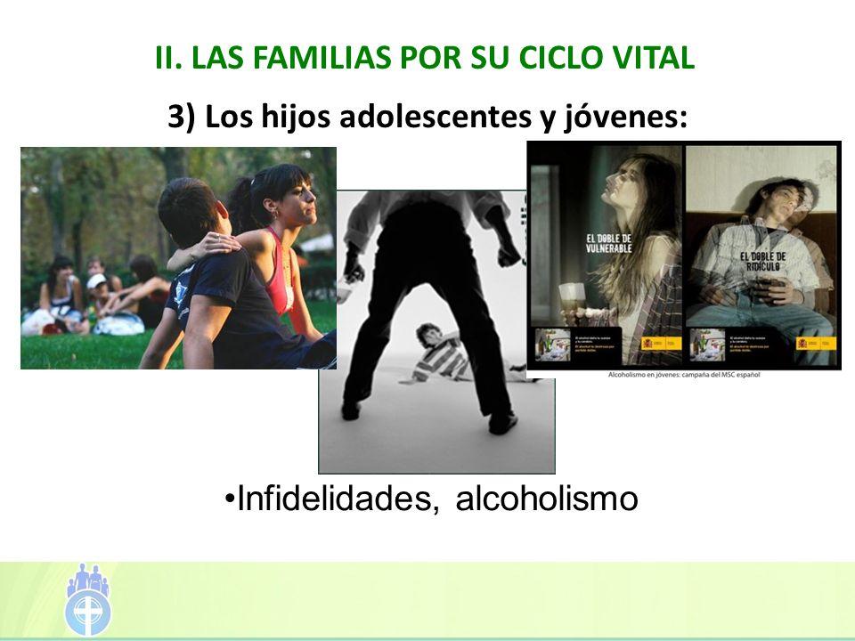 II. LAS FAMILIAS POR SU CICLO VITAL 3) Los hijos adolescentes y jóvenes: Infidelidades, alcoholismo