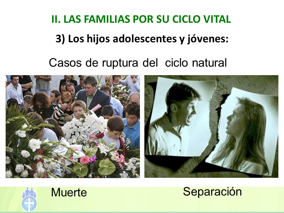 II. LAS FAMILIAS POR SU CICLO VITAL 3) Los hijos adolescentes y jóvenes: Casos de ruptura del ciclo natural Muerte Separación