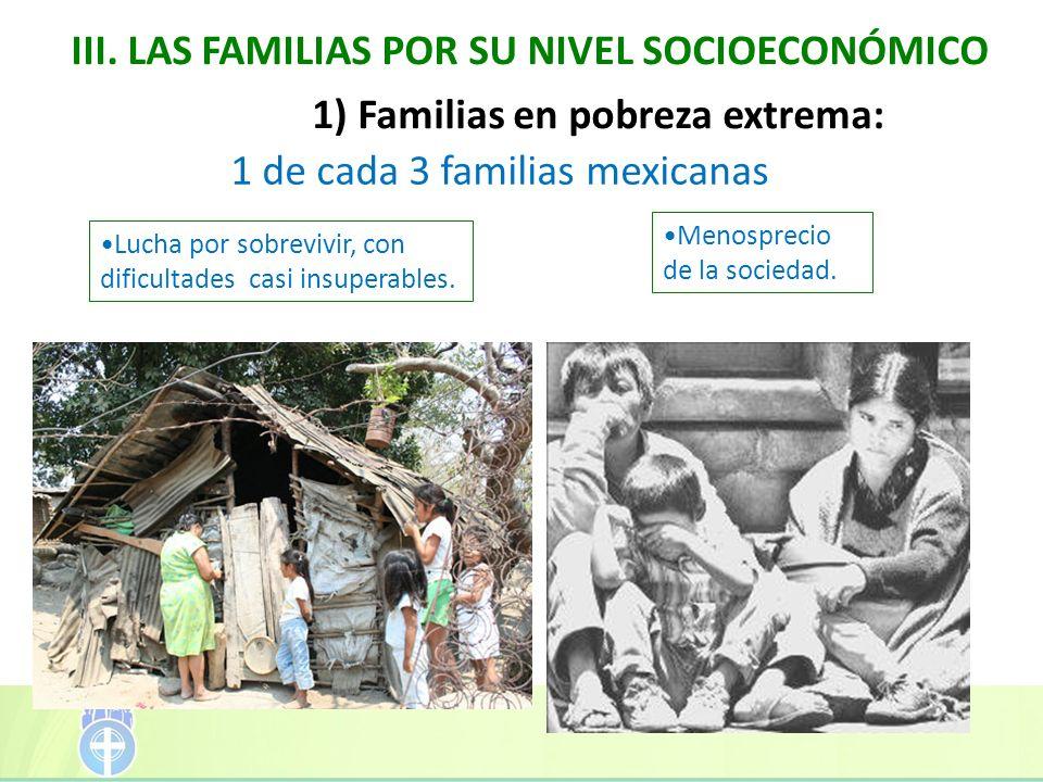 III. LAS FAMILIAS POR SU NIVEL SOCIOECONÓMICO 1) Familias en pobreza extrema: 1 de cada 3 familias mexicanas Lucha por sobrevivir, con dificultades ca