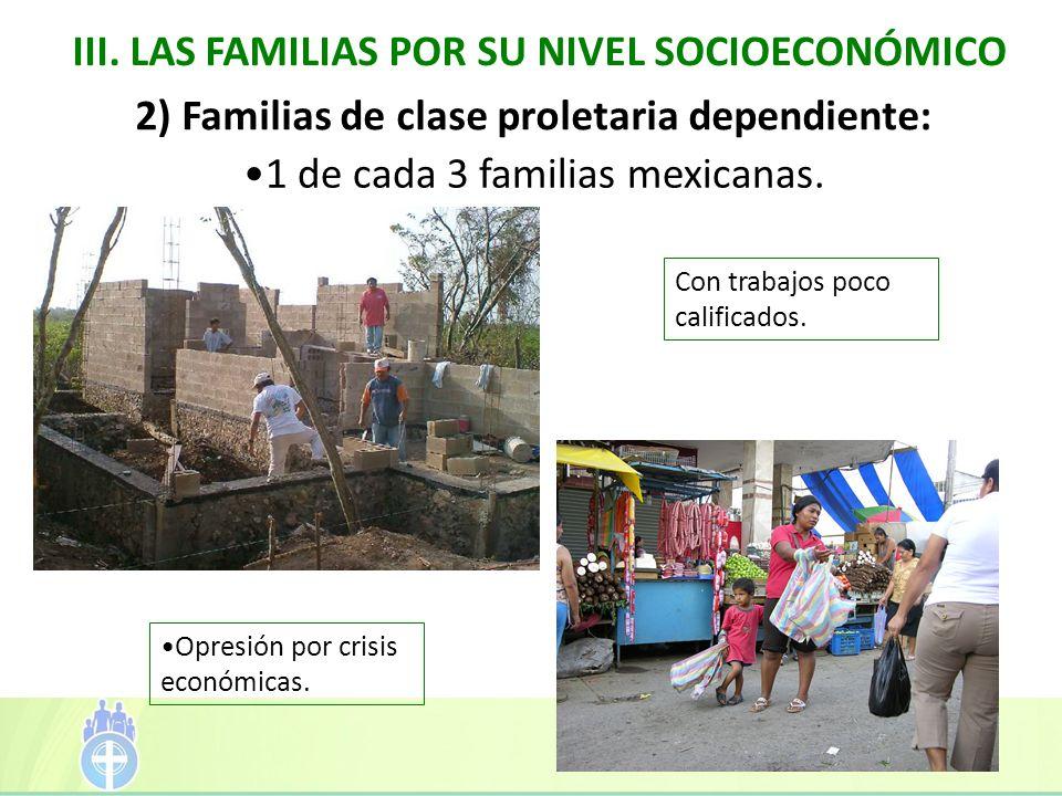 III. LAS FAMILIAS POR SU NIVEL SOCIOECONÓMICO Con trabajos poco calificados. 2) Familias de clase proletaria dependiente: 1 de cada 3 familias mexican