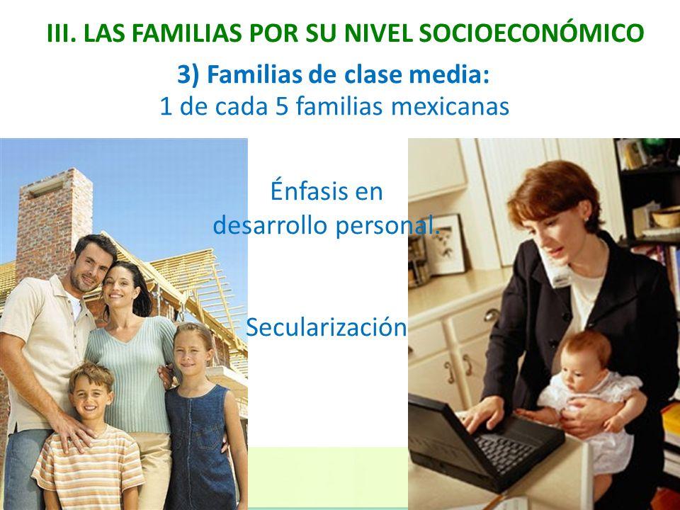 III. LAS FAMILIAS POR SU NIVEL SOCIOECONÓMICO 3) Familias de clase media: 1 de cada 5 familias mexicanas Énfasis en desarrollo personal. Secularizació