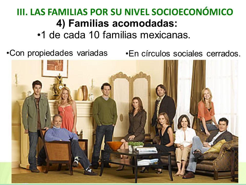 III. LAS FAMILIAS POR SU NIVEL SOCIOECONÓMICO 4) Familias acomodadas: 1 de cada 10 familias mexicanas. Con propiedades variadas En círculos sociales c