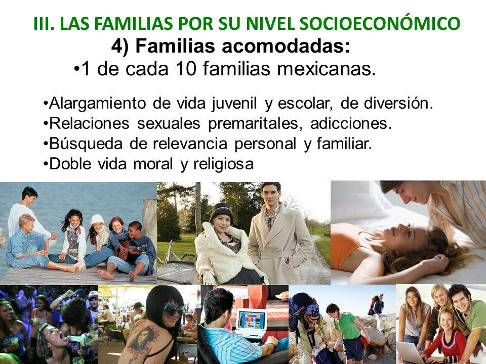 III. LAS FAMILIAS POR SU NIVEL SOCIOECONÓMICO 4) Familias acomodadas: Alargamiento de vida juvenil y escolar, de diversión. Relaciones sexuales premar