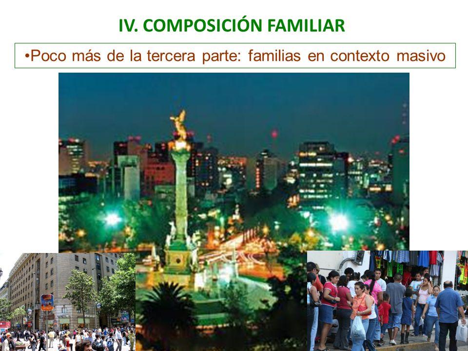 IV. COMPOSICIÓN FAMILIAR Poco más de la tercera parte: familias en contexto masivo