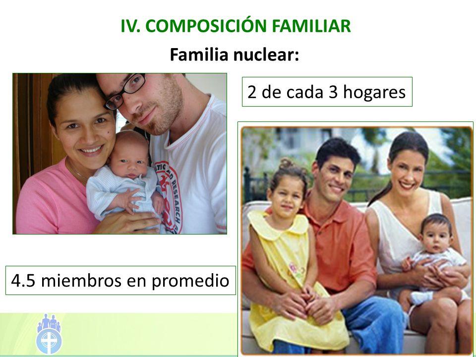 IV. COMPOSICIÓN FAMILIAR 2 de cada 3 hogares Familia nuclear: 4.5 miembros en promedio