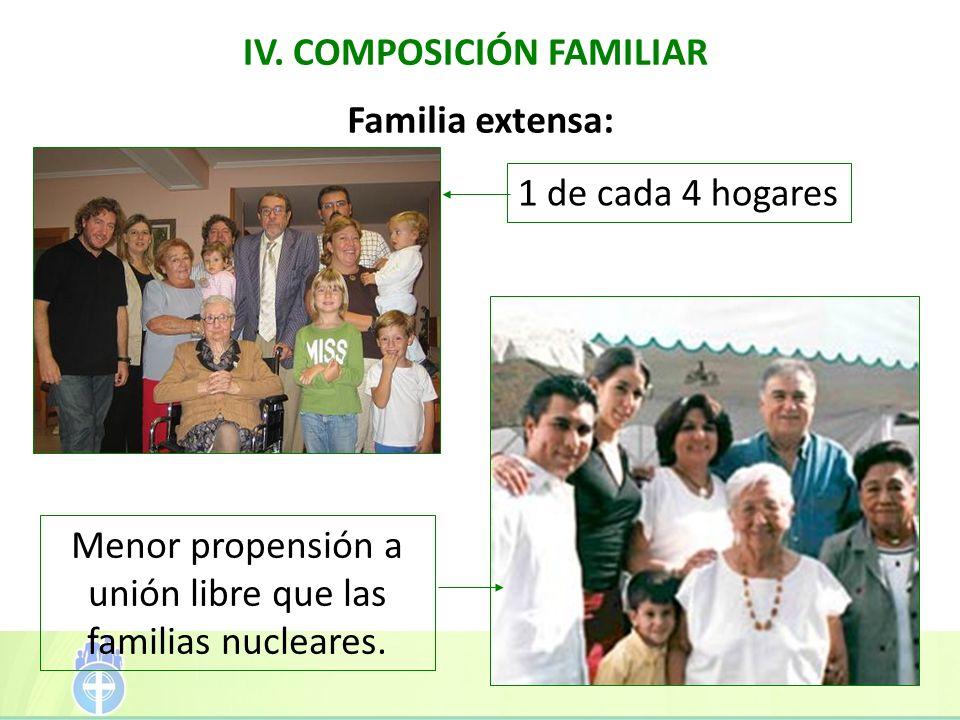 IV. COMPOSICIÓN FAMILIAR Menor propensión a unión libre que las familias nucleares. Familia extensa: 1 de cada 4 hogares