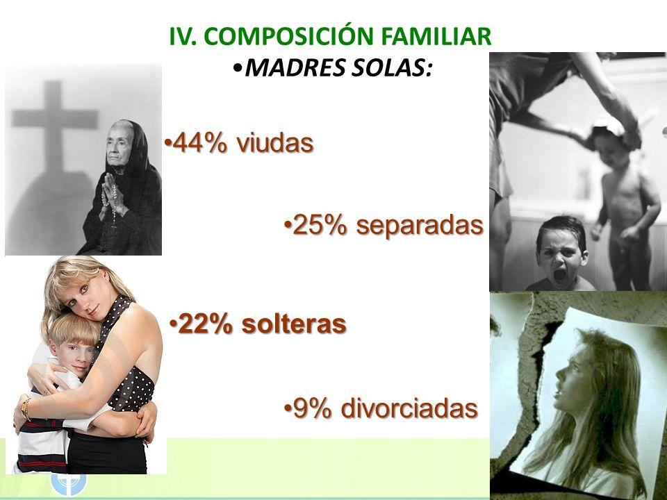 IV. COMPOSICIÓN FAMILIAR 9% divorciadas9% divorciadas MADRES SOLAS: 22% solteras22% solteras 25% separadas25% separadas 44% viudas44% viudas