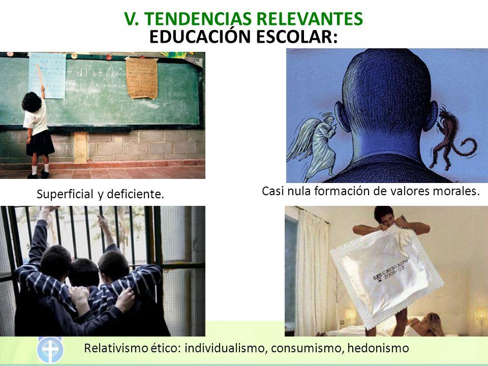 EDUCACIÓN ESCOLAR: Relativismo ético: individualismo, consumismo, hedonismo Casi nula formación de valores morales. Superficial y deficiente.
