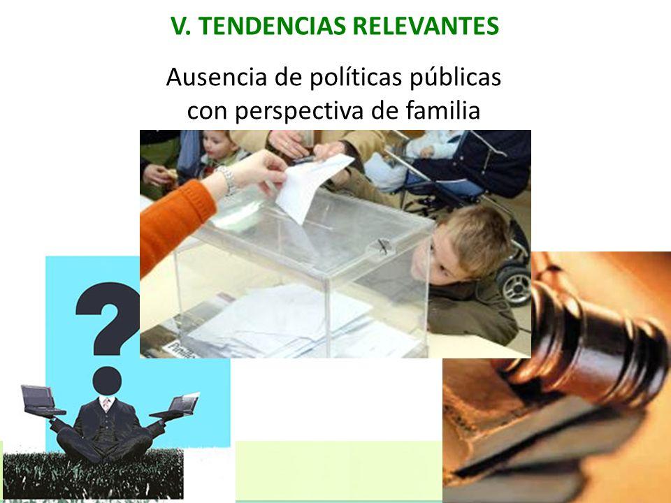 V. TENDENCIAS RELEVANTES Ausencia de políticas públicas con perspectiva de familia