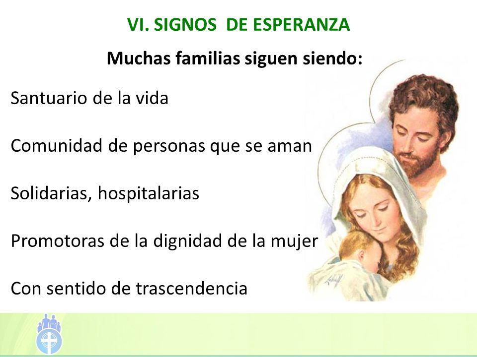 Muchas familias siguen siendo: Santuario de la vida Comunidad de personas que se aman Solidarias, hospitalarias Promotoras de la dignidad de la mujer Con sentido de trascendencia